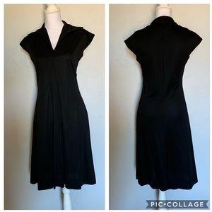 Vintage 1970s Black Dress with Wrap Belt